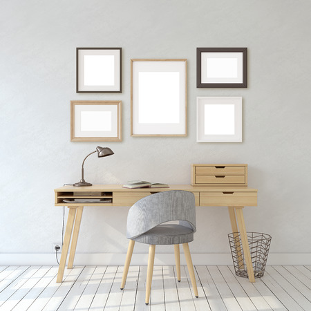 Interior of home office in scandinavic style. Interior and frame mockup. Different types of frames on the white wall. 3d render.