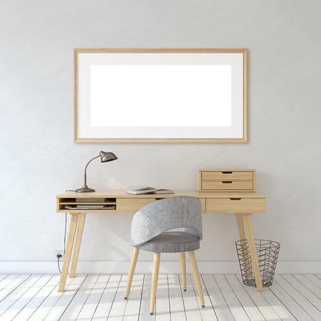 Interior de la oficina en casa en estilo escandinavo. Maqueta interior y marco. Marco de madera en la pared blanca. Render 3D. Foto de archivo