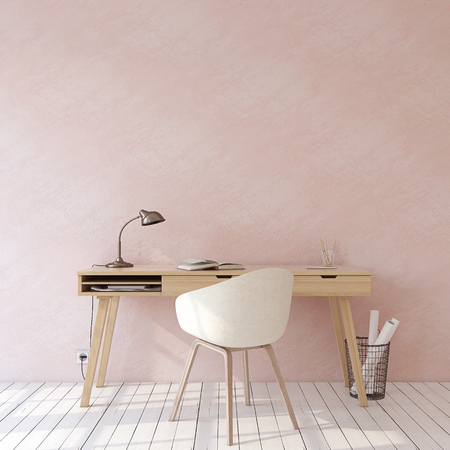 Home office. Interior mockup. Wooden desk near empty pink wall. 3d render. Stok Fotoğraf