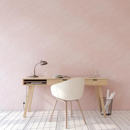 Oficina en casa. Maqueta interior. Escritorio de madera junto a la pared rosa vacía. Render 3D. Foto de archivo
