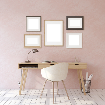 Home office. Interior and frame mockup. Wooden desk near pink wall. Different types of frames. 3d render. 版權商用圖片