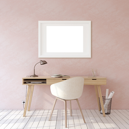 Home office. Interior and frame mockup. Wooden desk near pink wall. White frame on the wall. 3d render. 版權商用圖片