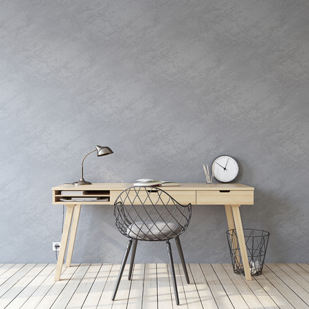 Home office. Interior mockup. Wooden desk near empty gray wall. 3d render.