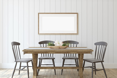 Modern farmhouse dining-room. Frame mockup. Wooden frame on the shiplap wall. 3d render. 스톡 콘텐츠