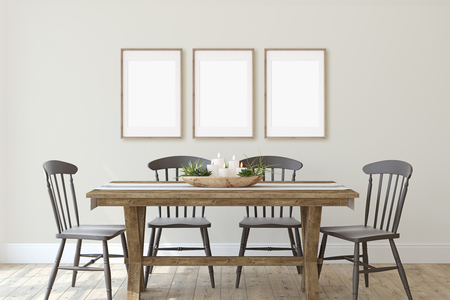Modern farmhouse dining-room. Frame mockup. Three wooden frames on the wall. 3d render.