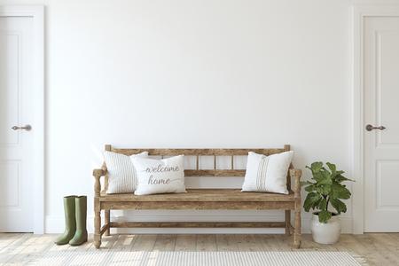 Farmhouse entryway. Wooden bench near white wall. Interior mockup. 3d render. Stock Photo