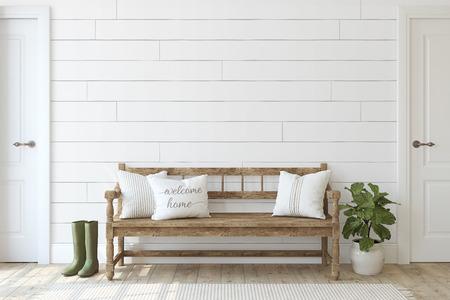 Entrada de la casa de campo. Banco de madera junto a la pared blanca traslapada. Maqueta interior. Render 3D. Foto de archivo