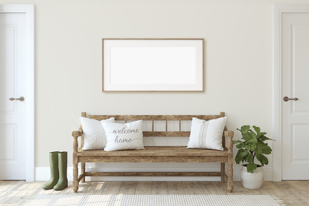 Farmhouse entryway. Wooden bench near beige wall. Frame mockup. Wooden frame on the wall. 3d render. Stock Photo