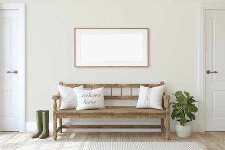 Ingresso della fattoria. Panca in legno vicino al muro beige. Modello di cornice. Cornice in legno a parete. rendering 3D. Archivio Fotografico