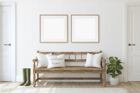 Ingresso della fattoria. Panca in legno vicino al muro bianco. Modello di cornice. Due cornici quadrate in legno sulla parete. rendering 3D.