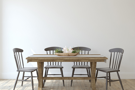 Modernes Esszimmer im Landhausstil. Innenmodell. 3D-Rendering.