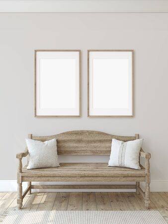 Farmhouse entryway. Wooden bench near beige wall. Frame mockup. Two vertical wooden frames on the wall. 3d render. 版權商用圖片