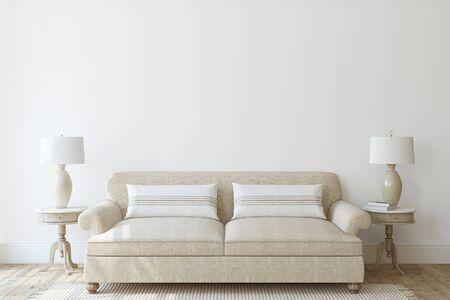 Interior de salón moderno en colores neutros. Maqueta interior. Render 3D.