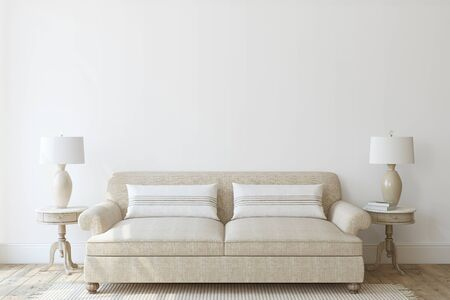 Interni moderni del soggiorno in colori neutri. Modello di interni. rendering 3D.