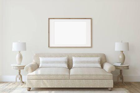 Modern living-room interior in neutral colors. Frame mockup. Interior mockup. 3d render. 版權商用圖片