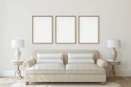 Modern living-room interior in neutral colors. Frame mockup. Interior mockup. Three vertical wooden frames on the wall. 3d render.