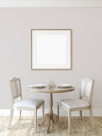 Modern dining-room. Interior mockup. Round table with two chairs near  wall. Frame mockup. Square wooden frame on the wall. 3d render.
