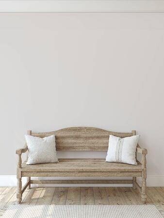 Farmhouse entryway. Wooden bench near empty wall. Interior mockup. 3d render.