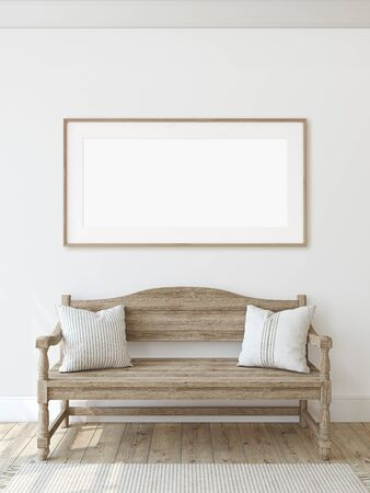 Farmhouse entryway. Wooden bench near white wall. Frame mockup. Wooden frame on the wall. 3d render. Standard-Bild