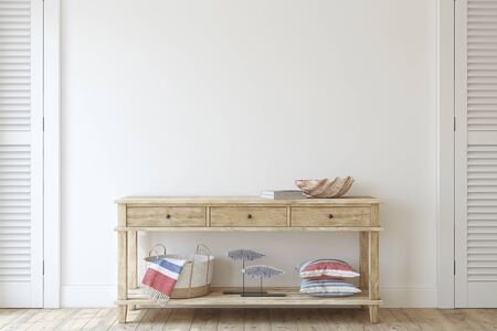 Interior in coastal style. Console table near empty white wall. Interior mockup. 3d render. 版權商用圖片