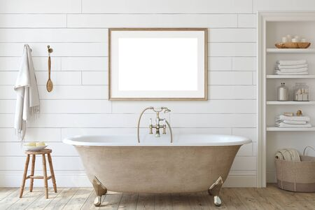 Farmhouse bathroom with shiplap wall . Interior and frame mockup. 3d render.