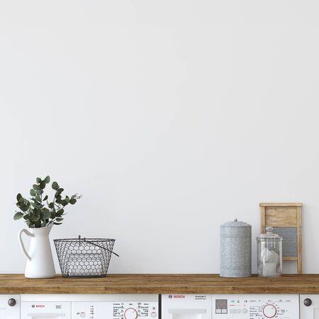 Modern farmhouse laundry. Interior mockup. 3d render.