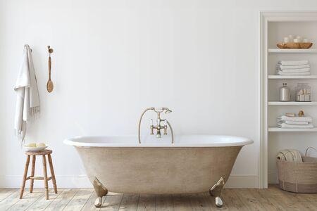 Farmhouse bathroom . Interior mockup. 3d render. 版權商用圖片