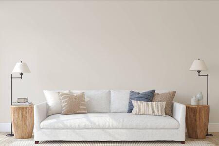 Modern living-room interior in coastal style. Interior mockup. 3d render.