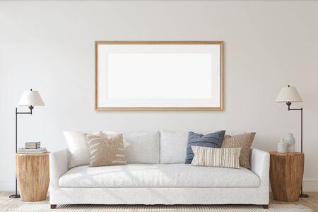Modern living-room interior in coastal style. Interior and frame mockup. 3d render. Reklamní fotografie