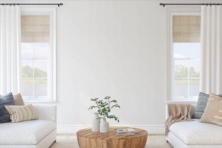 Modern living-room interior. Interior mockup. 3d render.