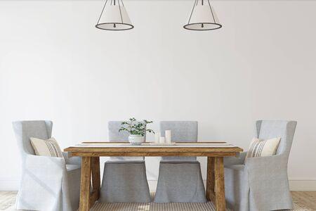Modern dining-room. Interior mockup. 3d render.