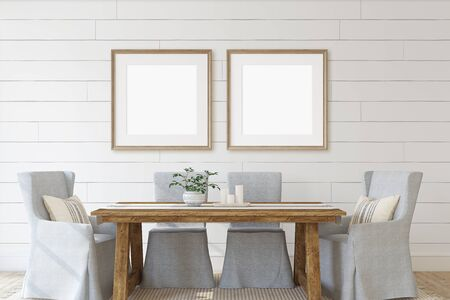 Modern dining-room with two square frames on the wall. Interior and frame mockup. 3d render.