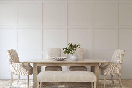 Modern dining room. Interior mockup. 3d render.