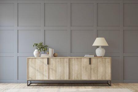 Modern entryway. Sideboard near empty gray panel wall. Interior mockup. 3d render. 版權商用圖片