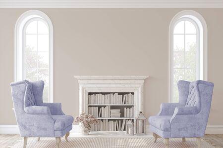 Romantic fireplace. 3d render.