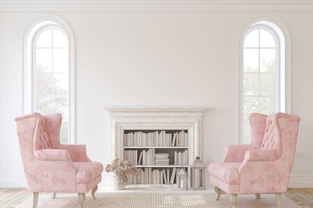 Romantic fireplace. Interior mockup. 3d render. 版權商用圖片