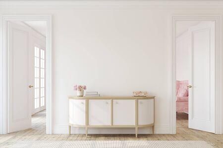Modern hallway. Interior mockup. 3d render. 版權商用圖片