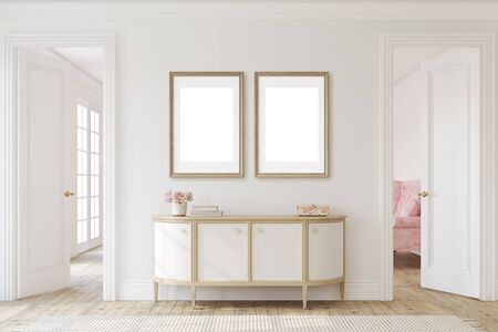 Modern hallway. Interior and frame mockup. 3d render.