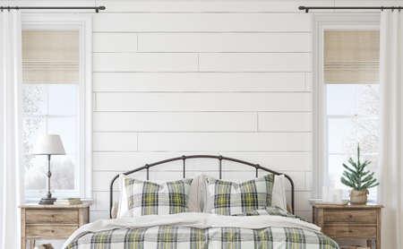 Christmas farmhouse bedroom. Interior mockup. 3d render. 版權商用圖片
