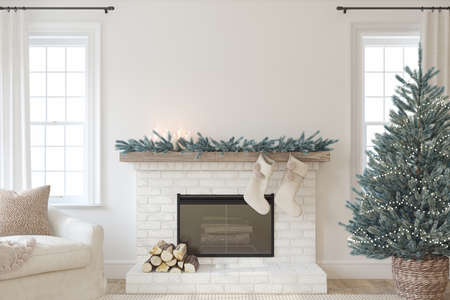 Christmas Interior with fireplace. Farmhouse style. Interior mockup. 3d render.