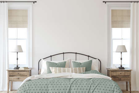 Farmhouse bedroom. Interior mockup. 3d render. 版權商用圖片