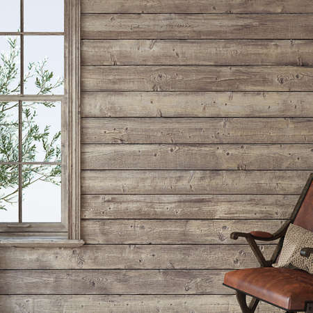 Ranch house. Interior mockup. 3d render. 版權商用圖片