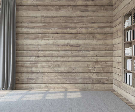 Interior. Empty room with wooden walls. 3d render.