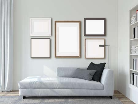 Modern living room interior. Frames mockup. The white couch near white wall. 3d render. 版權商用圖片