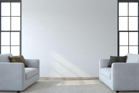 Modern living room interior. Interior mockup. Two white armchaira near empty white wall. 3d render. 版權商用圖片
