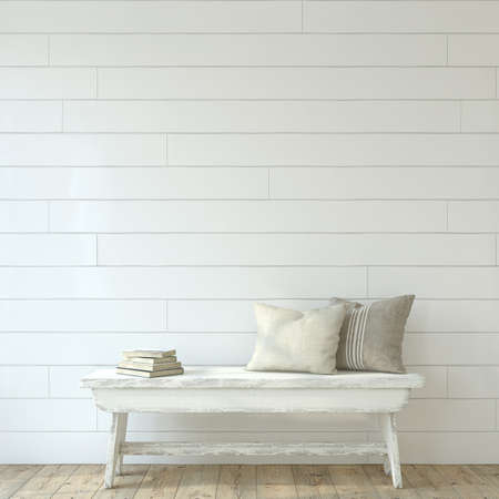 Farmhouse entryway. Wooden bench near white shiplap wall. Interior mockup. 3d render. 版權商用圖片