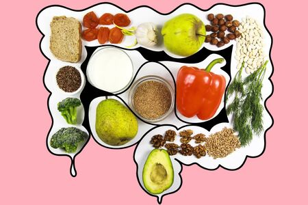 Food for bowel Health. Kefir, Bifidobacteria, greens, apples, fiber, dried fruits, nuts, pepper whole bread cereals broccoli flax seed Stock fotó - 132025261