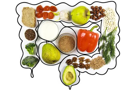 Food for bowel Health. Kefir, Bifidobacteria, greens, apples, fiber, dried fruits, nuts, pepper, whole bread, cereals broccoli flax seed isolate on a white background Stock fotó