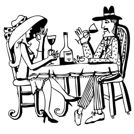 pareja comiendo: romántica pareja de beber vino y comer Vectores