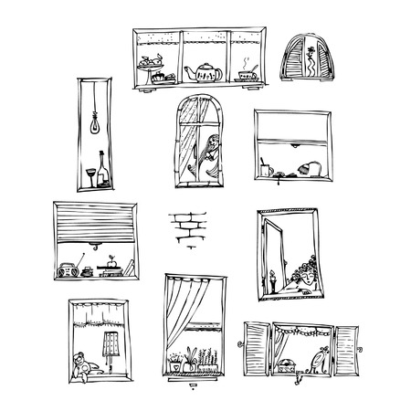 pane: different scenes on one wall Illustration